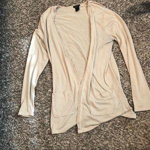 Ann Taylor Cream Long Sleeve Cardigan with pockets